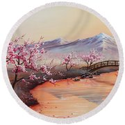 Cherry Blossoms In The Mist - Revisited Round Beach Towel