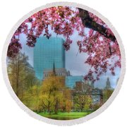 Round Beach Towel featuring the photograph Cherry Blossoms Over Boston by Joann Vitali