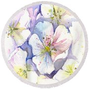 Cherry Blossoms Watercolor Round Beach Towel