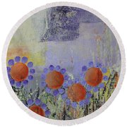 Cheery Flowers Round Beach Towel