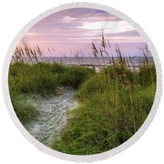 Cherry Grove Beach Scene Round Beach Towel