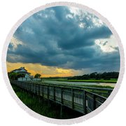 Cherry Grove Channel Marsh Round Beach Towel
