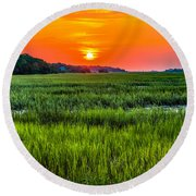 Cherry Grove Marsh Sunrise Round Beach Towel
