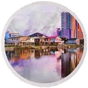 Cherry Grove Skyline - Digital Watercolor Round Beach Towel