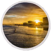 Cherry Grove Sunset Round Beach Towel
