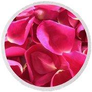 Cherry Pink Rose Petals Round Beach Towel