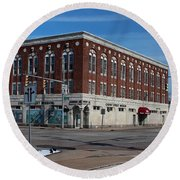 Round Beach Towel featuring the photograph Cherry Street Mission In Winter by Michiale Schneider