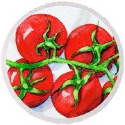 Cherry Tomatoes  Round Beach Towel