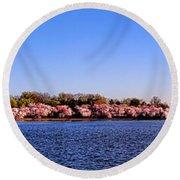 Cherry Trees On The Tidal Basin And Washington Monument  Round Beach Towel