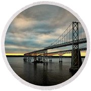 Chesapeake Bay Bridge At Twilight Round Beach Towel