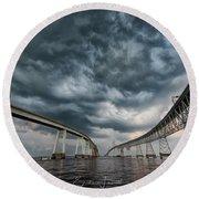 Chesapeake Bay Bridge Storm Round Beach Towel