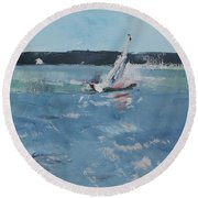 Chesapeake Bay Sailing Round Beach Towel