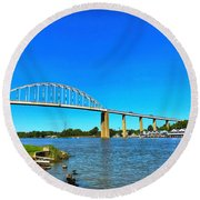 Chesapeake City Bridge  Round Beach Towel