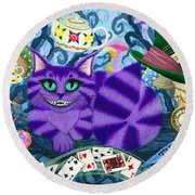 Cheshire Cat - Alice In Wonderland Round Beach Towel