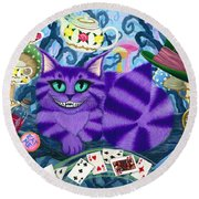Round Beach Towel featuring the painting Cheshire Cat - Alice In Wonderland by Carrie Hawks