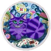 Cheshire Cat - Alice In Wonderland Round Beach Towel