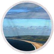 Round Beach Towel featuring the photograph Chesil Beach by Baggieoldboy