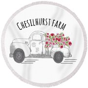 Round Beach Towel featuring the drawing Chesilhurst Farm by Kim Kent