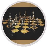 Chess The Art Game Round Beach Towel