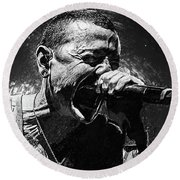 Round Beach Towel featuring the photograph Chester Bennington by Taylan Apukovska