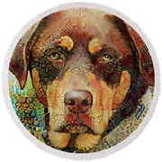 Chester The Abstract Mutt  Round Beach Towel