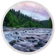 Round Beach Towel featuring the photograph Chetco River Sunset 2 by Leland D Howard