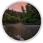 Round Beach Towel featuring the photograph Chetco River Sunset by Leland D Howard