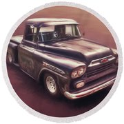 Chevrolet Apache Pickup Round Beach Towel