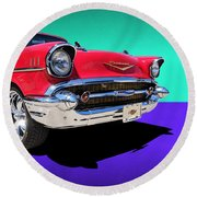 Chevrolet Bel Air Color Pop Round Beach Towel