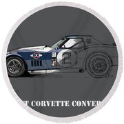 Chevrolet Corvette Convertible L88 1968, Ink And Markers Art Print Round Beach Towel