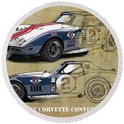 Chevrolet Corvette Convertible L88 1968,original Fast Race Car. Two Drawings, One Print Round Beach Towel