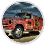 1948 Chevrolet Fire Truck Round Beach Towel