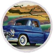 1957 Chevrolet 3100 Truck Under A California Oak Round Beach Towel