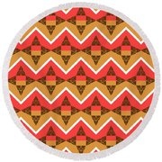 Chevron And Triangles Round Beach Towel by Gaspar Avila