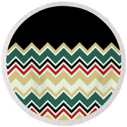 Chevron Beige Forest Green Red Black Zigzag Pattern Round Beach Towel