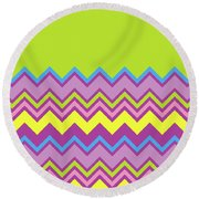 Chevron Bright Green Yellow Blue Purple Zigzag Pattern Round Beach Towel