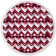 Chevron Hearts Metallic Ruby Red Pink Zigzag Round Beach Towel
