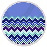 Chevron Lavender Turquoise Blue Purple Zigzag Pattern Round Beach Towel