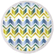 Chevron Metallic Gold Blue Green Gradation Stars Pattern Round Beach Towel