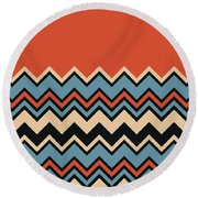 Chevron Orange Blue Beige Black Zigzag Pattern Round Beach Towel