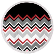 Chevron Red Grey Black White Zigzag Pattern Round Beach Towel