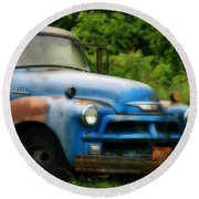 Chevy 6500 Farm Truck Round Beach Towel