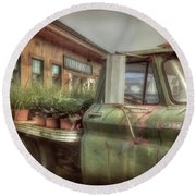 Round Beach Towel featuring the photograph Chevy C 30 Pickup Truck - Colby Farm by Joann Vitali
