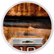 Chevy C10 Rusted Emblem Round Beach Towel