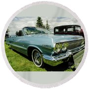 Round Beach Towel featuring the photograph Chevy Classic by Nick Boren