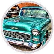 Chevy Cruising 55 Round Beach Towel