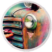 Chevy Firetruck  Round Beach Towel