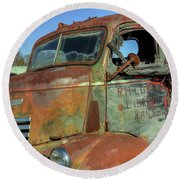 Round Beach Towel featuring the photograph Chevy From Liberal, Kansas by Jerry Gammon
