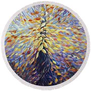 Round Beach Towel featuring the painting Chi Of The Mighty Tree by Joanne Smoley