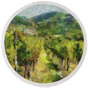 Chianti Vineyards Round Beach Towel